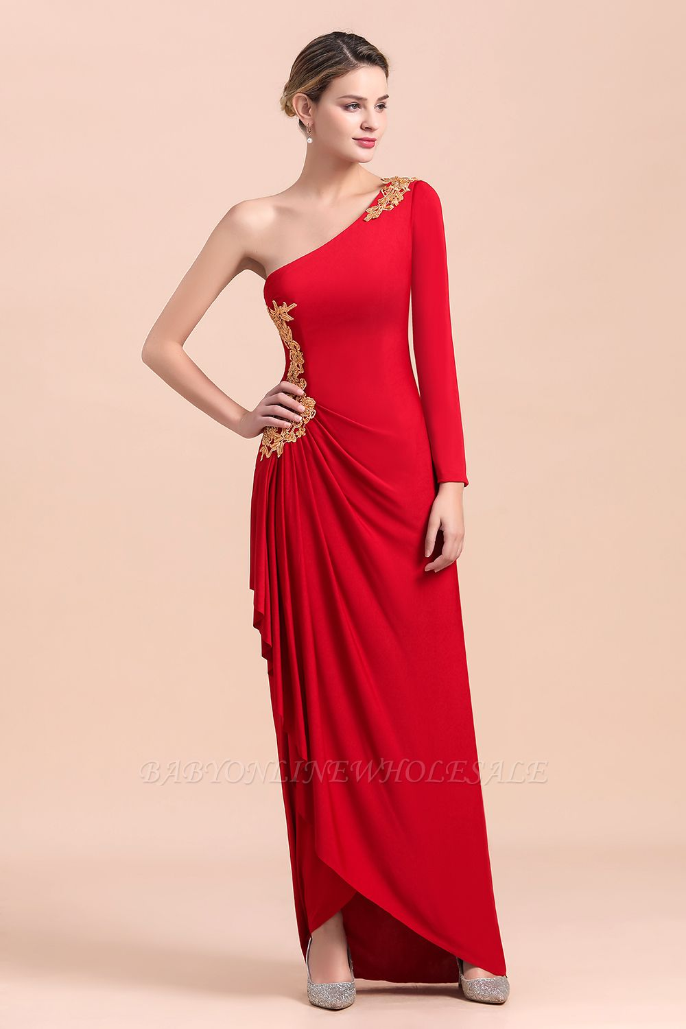 One shoulder long sleeves red pleats Plus size Mother of the bride dress