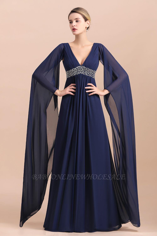 Azul marino oscuro Escote en V profundo Cintura alta Una línea Cinturón moldeado Vestidos para madre