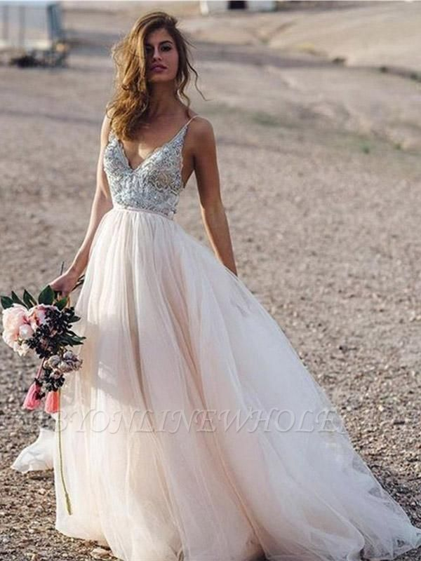 Spaghetti Straps Deep V-neck Beads Wedding Dresses | Sexy Tulle Floor Length Bridal Gowns