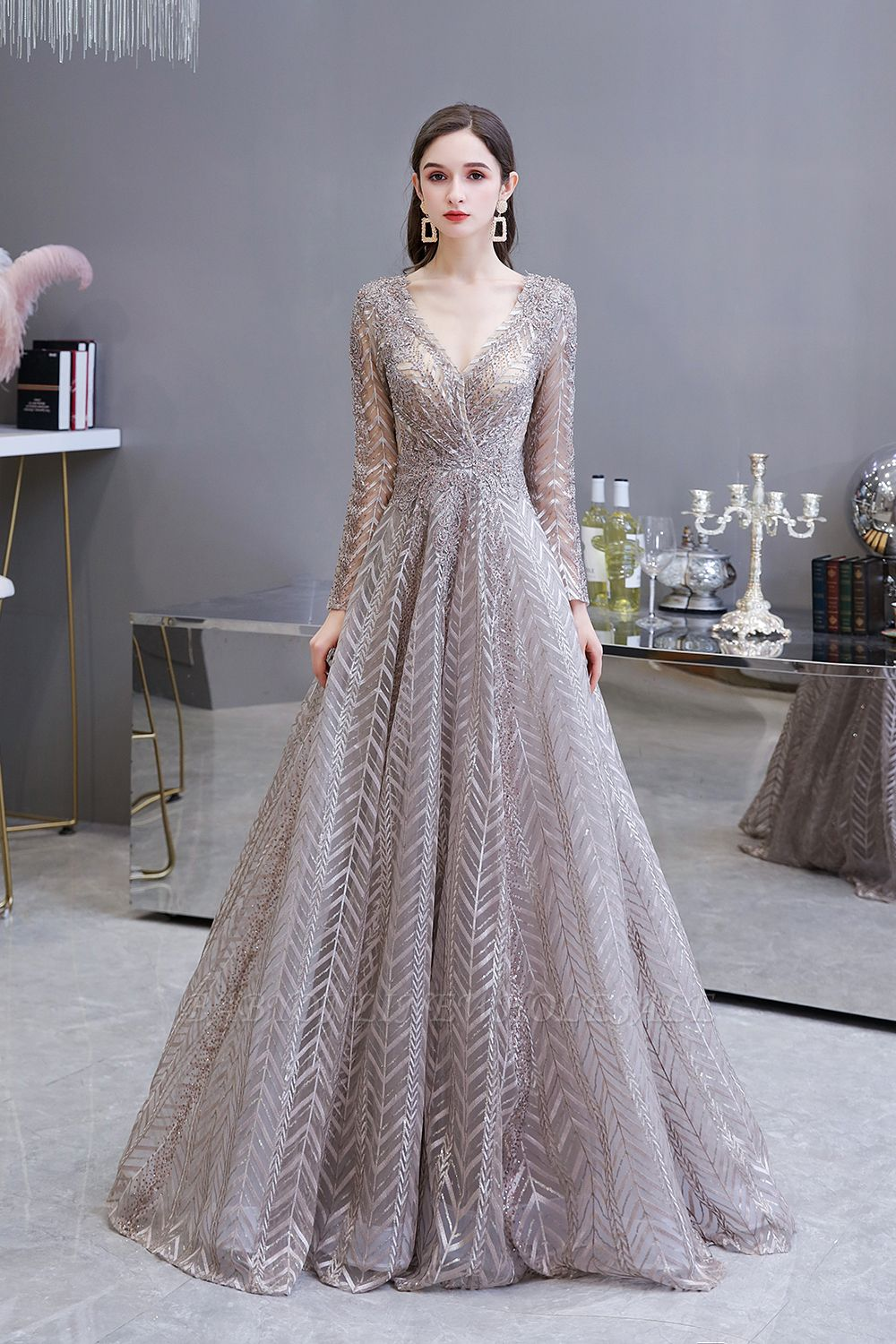 Modest Long sleeves V-neck Princess Prom Dress