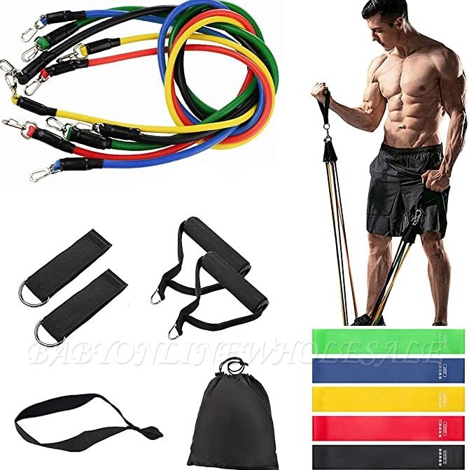 16Pcs/Set Latex Resistance Bands Crossfit Training Exercise Yoga Tubes Pull Rope,Rubber Expander Elastic Bands Fitness with Bag