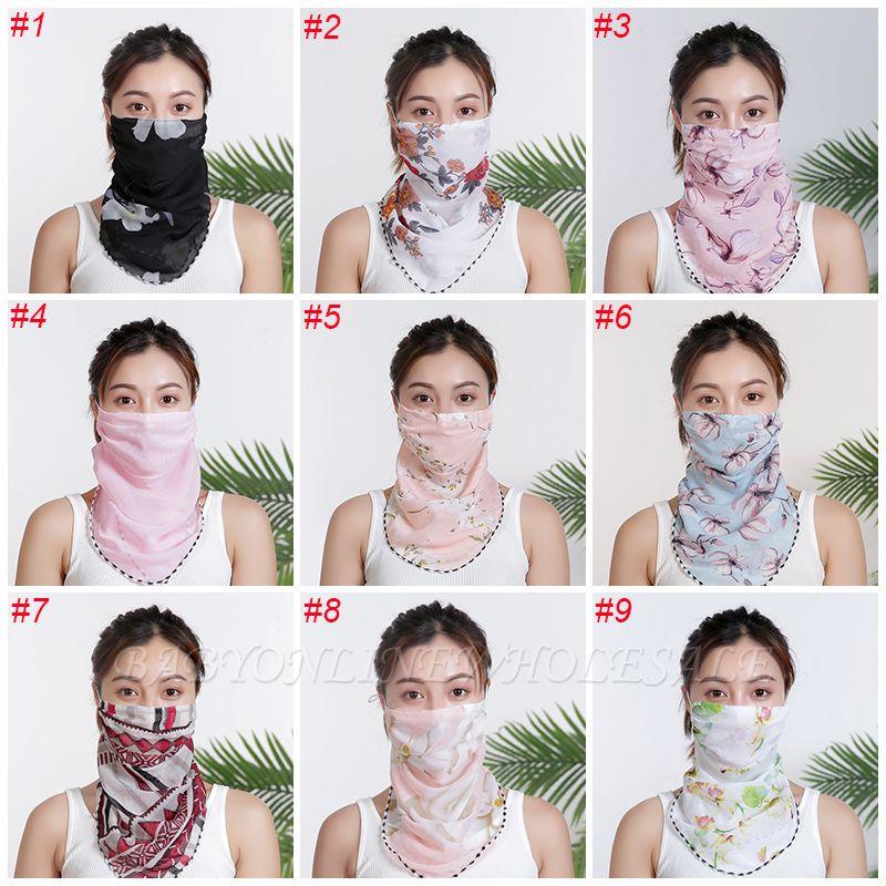 Femmes En Mousseline De Soie Masque Écharpe Visage Wraps Floral Imprimer Dame Soie Cou Foulards Foulard Bandana Été Soleil Masques Anti-poussière Protéger