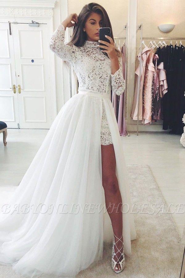 البوهيمي كم طويل 2 في 1 الصيف شاطئ فستان الزفاف منخفضة عالية