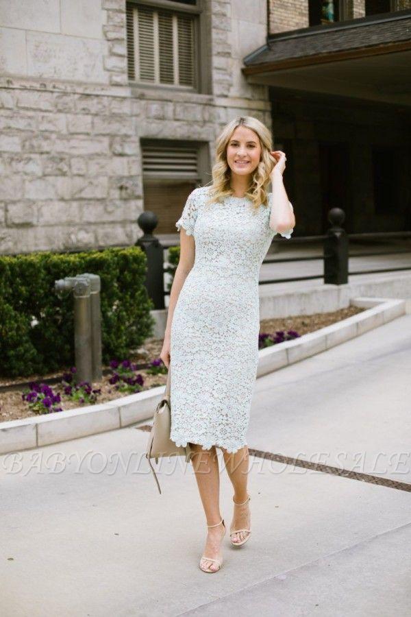 Elegantes vestidos de fiesta de encaje blancos hasta la rodilla cortos con mangas