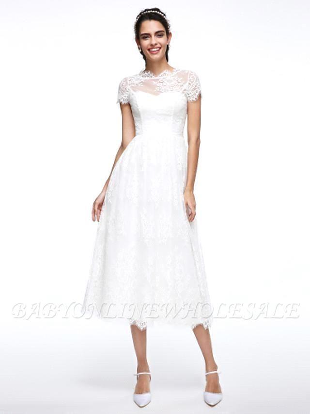 A-Line Wedding Dresses Jewel Neck Tea Length Lace Short Sleeve Simple Casual Illusion  Backless