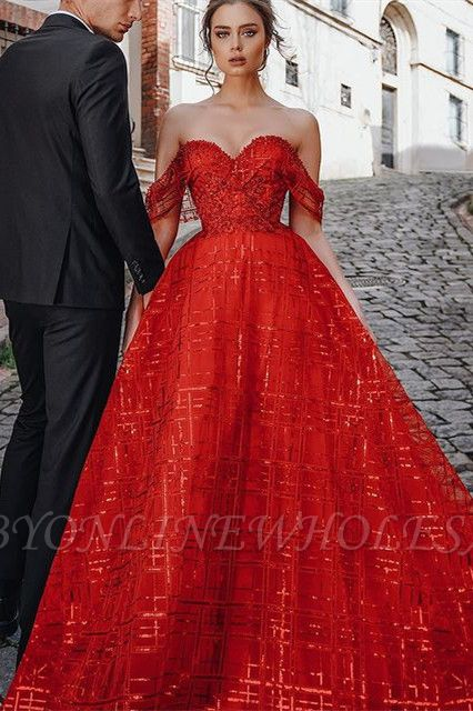 Unique Red Off-the-shoulder Sparkle Puffy Evening Dress