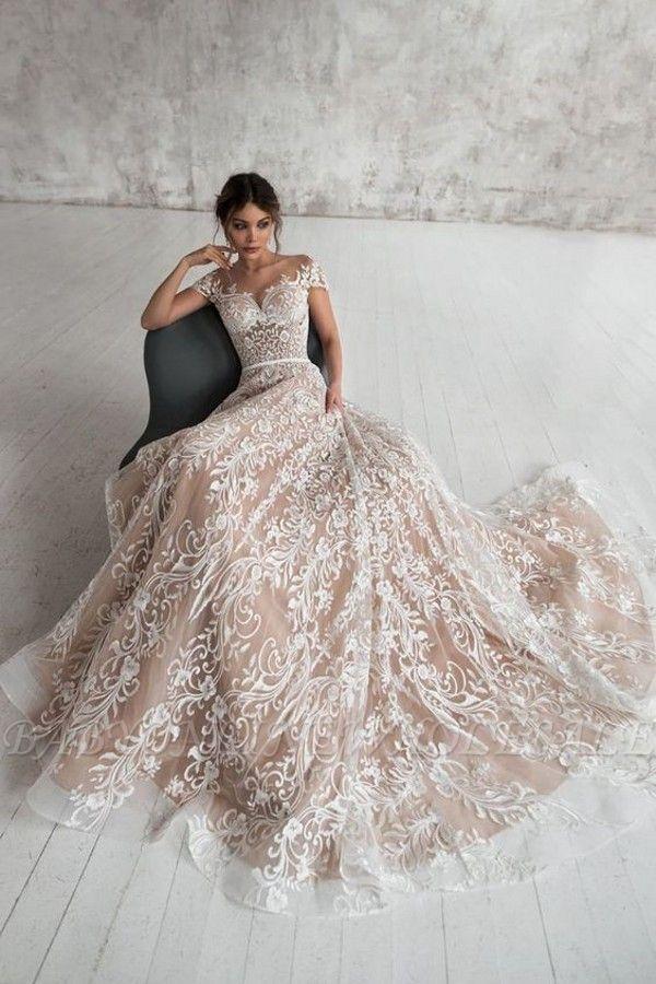 Chic Schulterfreies Blumen Schlankes Brautkleid in A-Linie