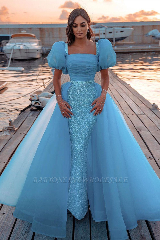 Himmelblaue Prinzessin Meerjungfrau Abendkleider mit Sweep Train Kurzarm Partykleider