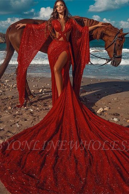 Sparkle Red Extreme Long Train Sexy Criss-cross Long sleeves Prom Dress