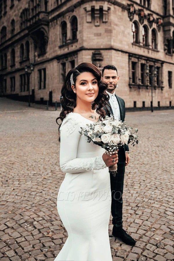 Meerjungfrau Brautkleid Langarm Satin Brautkleider