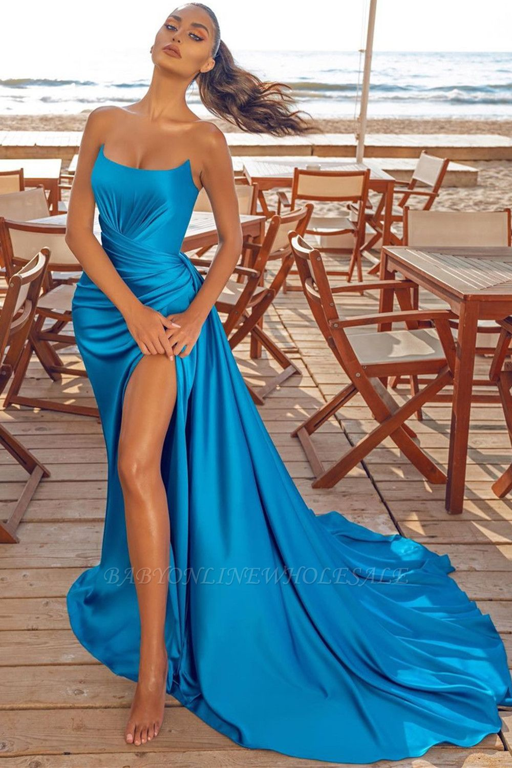 Sexy Split front Evening Party Dress Sleeveless Cocktail Prom Dress