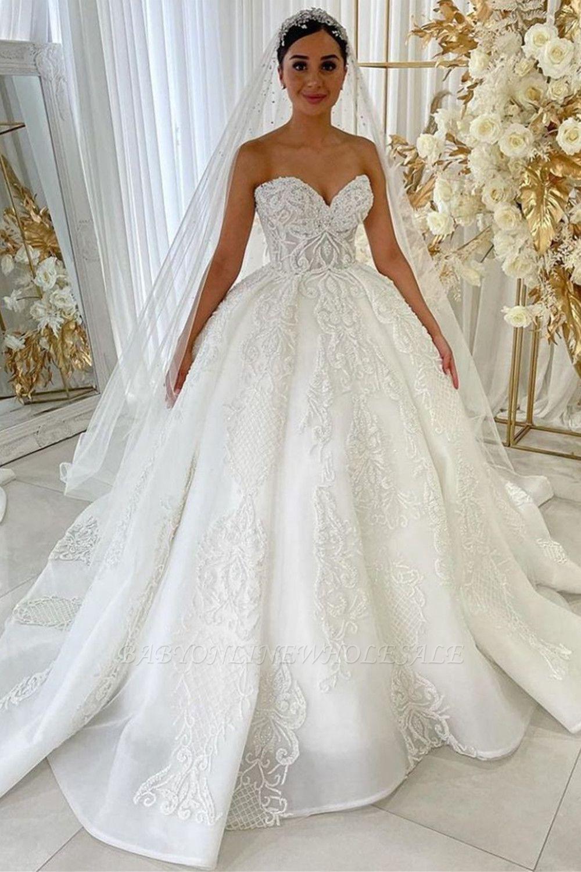 Sweetheart Princess A-line Vestidos de novia Apliques de encaje de jardín Vestido para novia
