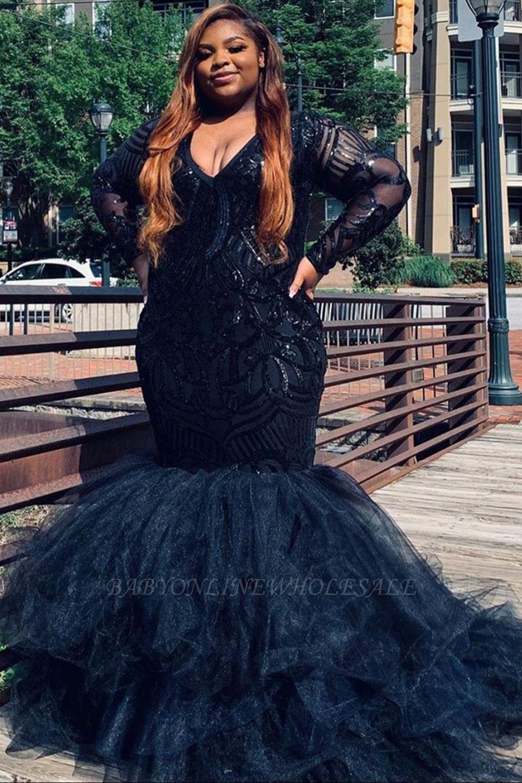 Robes de soirée sirène col en v grande taille robes de bal scintillantes en plumes