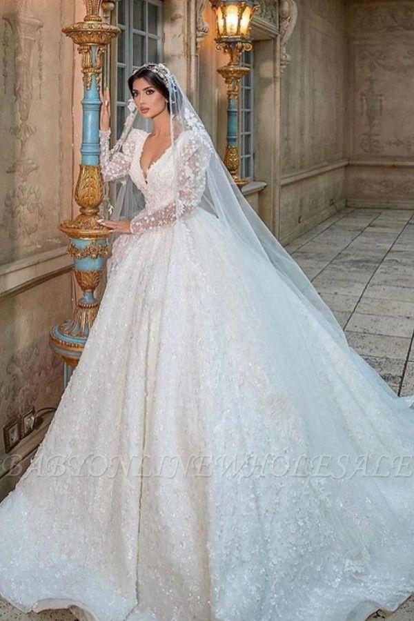 Glamouröses V-Ausschnitt mit langen Ärmeln A-Linie Prinzessin Brautkleid mit Sweep-Zug