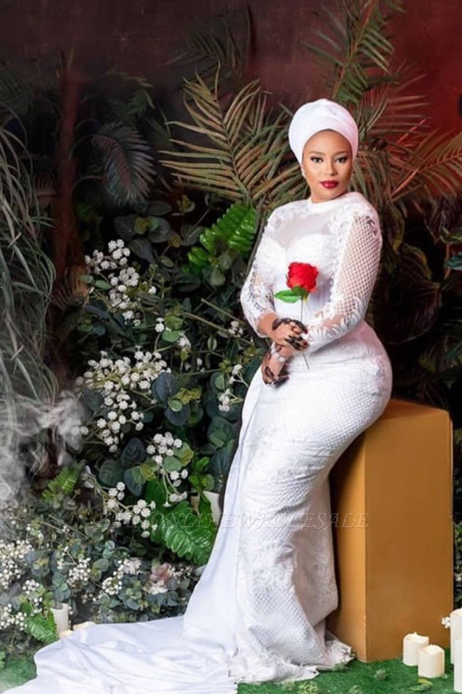 Vestido de novia de tul de encaje blanco de manga larga