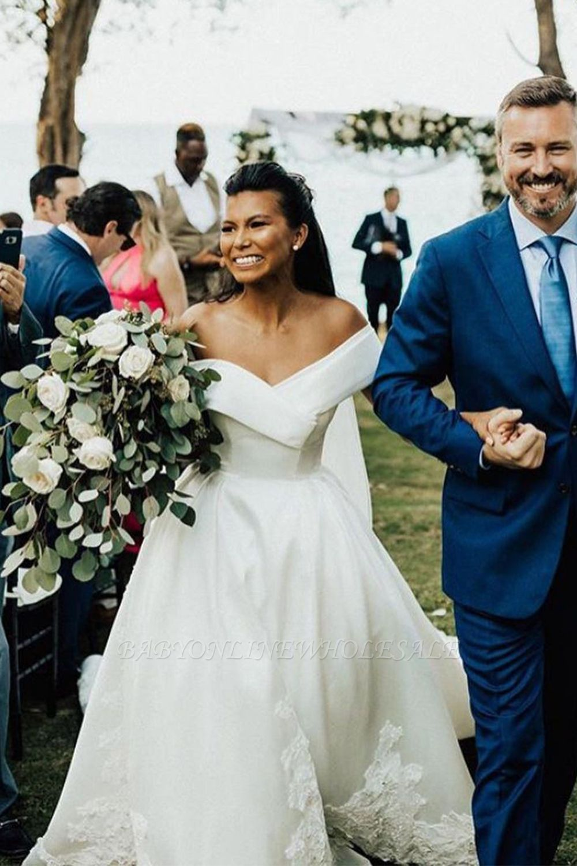 Superbe hors de l'épaule robe de mariée en satin Aline robe de mariée jardin