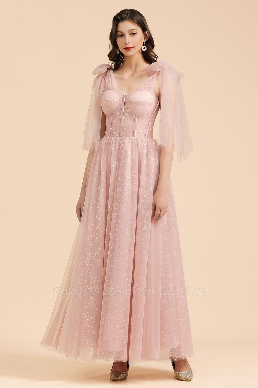 Magníficas mangas abullonadas Sparkly Aline Vestido de fiesta de noche Vestido de fiesta de gasa hasta el suelo