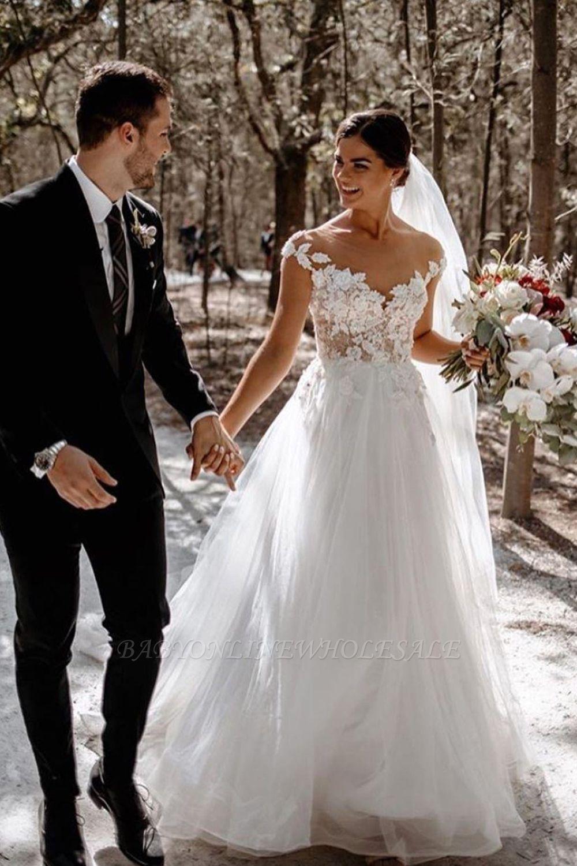 Elegante Flügelärmel Tüll Spitze einfaches Brautkleid weiß bodenlang Garten Brautkleid