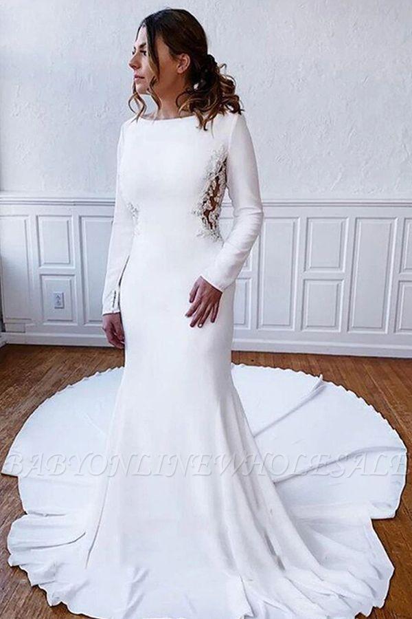 Elegante Langarm Bateau White Hochzeitsempfang Kleid Bodenlanges Brautkleid