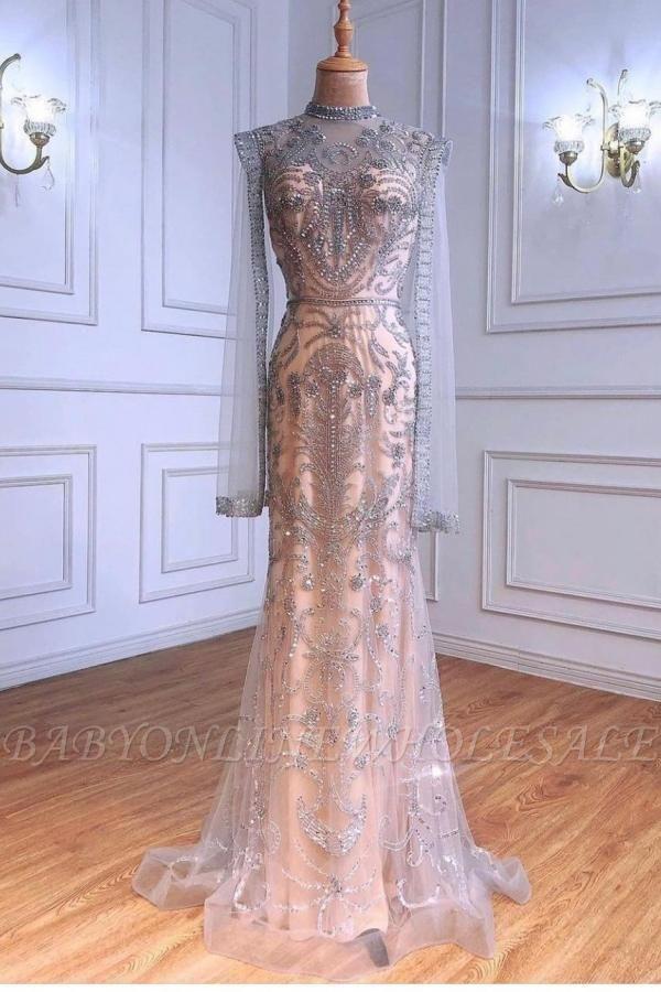 Роскошное блестящее вечернее платье с пайетками и бусинами, длинное вечернее платье с длинным рукавом