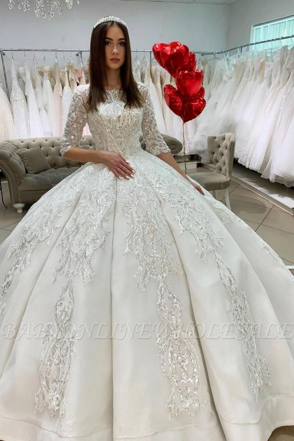 Gorgeous Half Sleeves Satin Lace Appliques Ball Gown  Wedding Dress