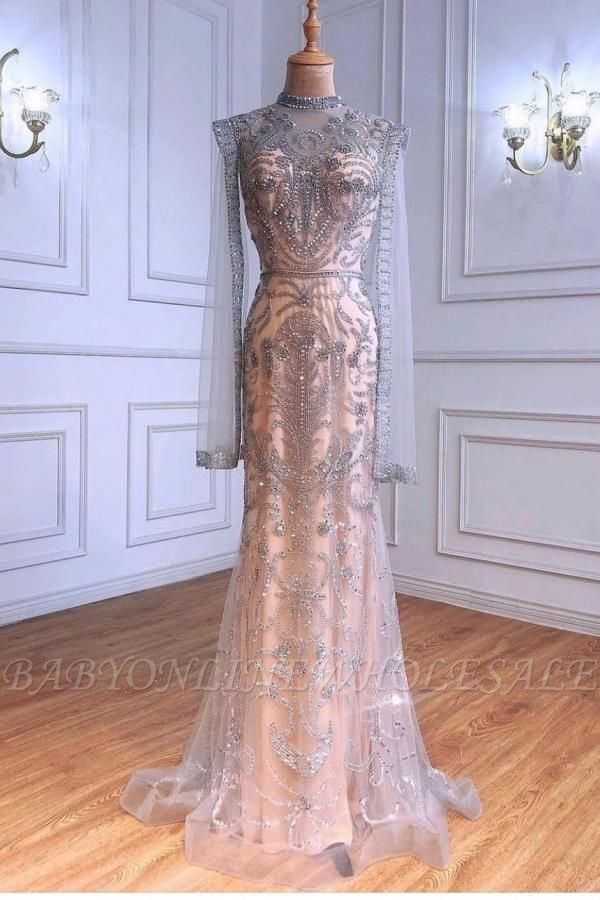 Luxury Sparkly Sequins Beads Long Mermaid Evening Gown Long Sleeve