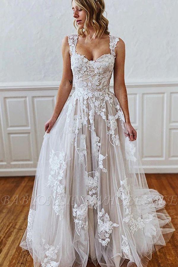 Свадебное платье из кружева с цветочным рисунком и бретельками в форме сердца 3D