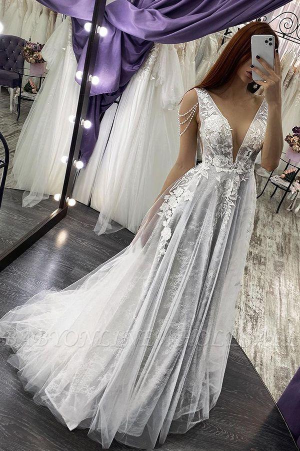 Sexy V-Neck Sleeveless Aline Wedding Dress Floral Lace Bridal Dress
