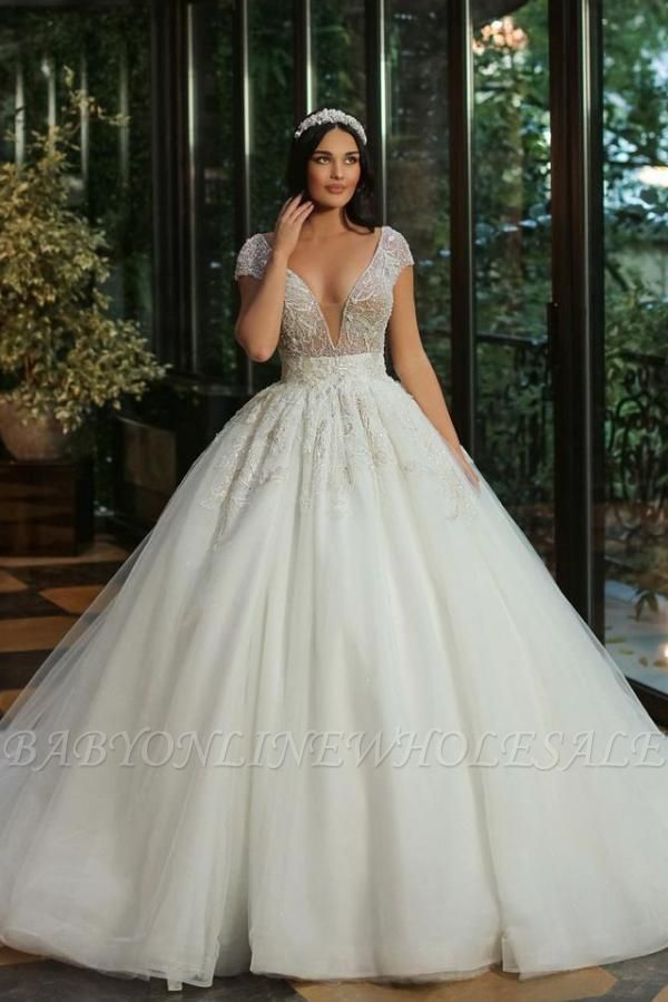 Chic Cap Sleeves Deep V-neck Beads Tulle Bridal Gown