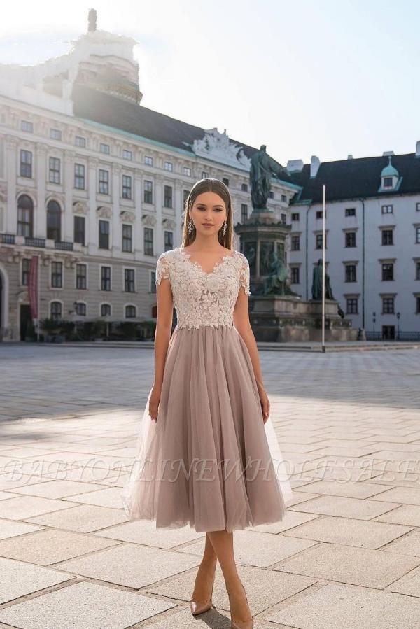 Stylish Cap Sleeves Tulle Short Formal Dress Daily Wear Midi Dress