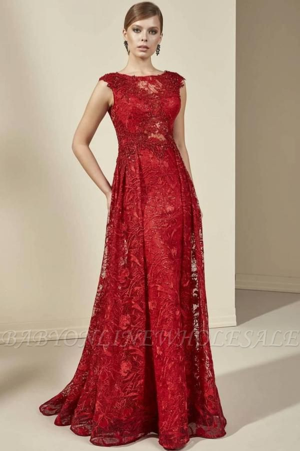 Vintage Cap Sleeves Red Floral Lace Long Evening Swing Dress