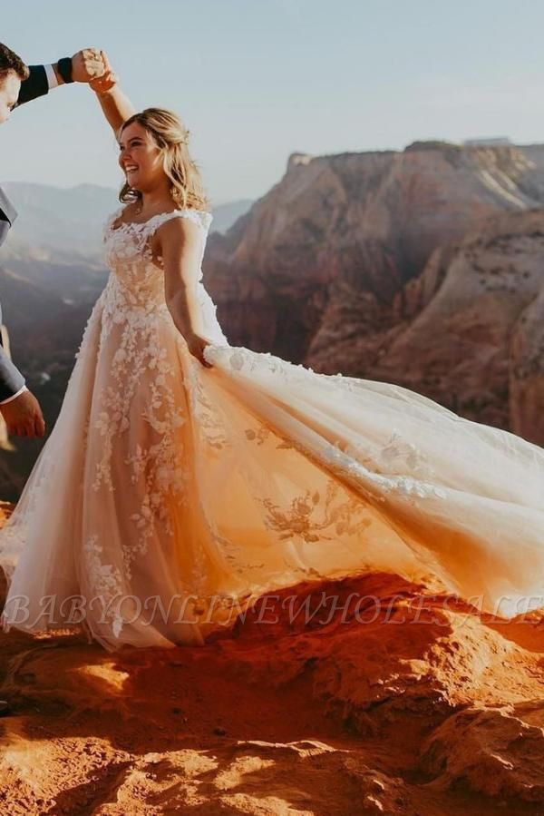 Stylish V-Neck Lace Appliques Aline Tulle Wedding Gown