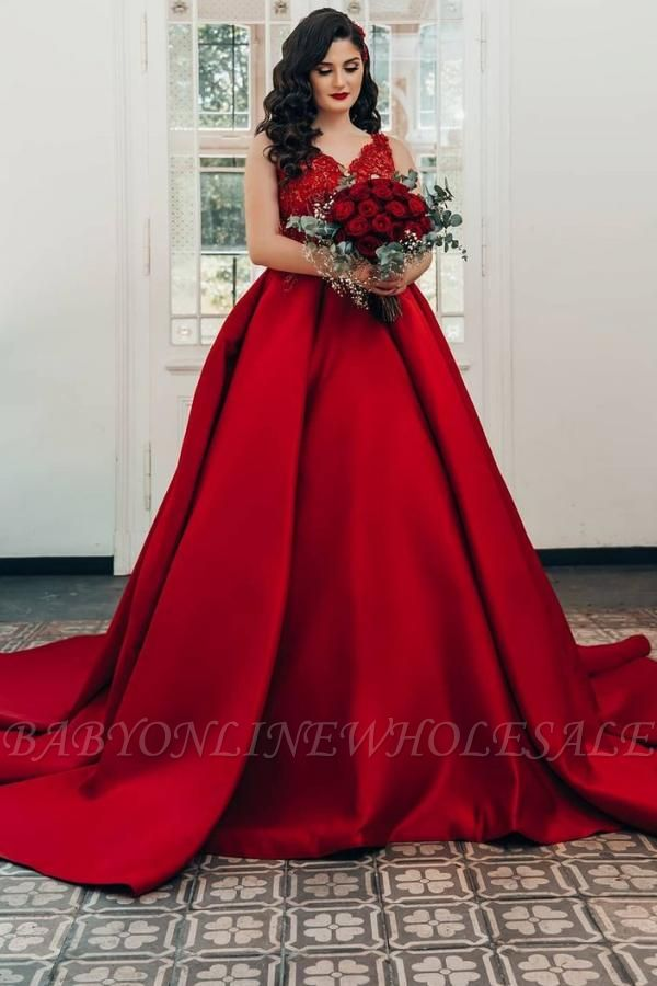 Glamorous Red Sweetheart Aline Ball Gown