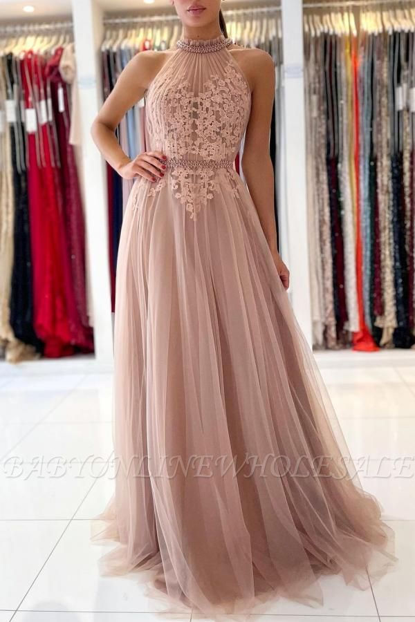 Stunning Halter Lace Appliques Tulle Aline Evening Maxi Dress