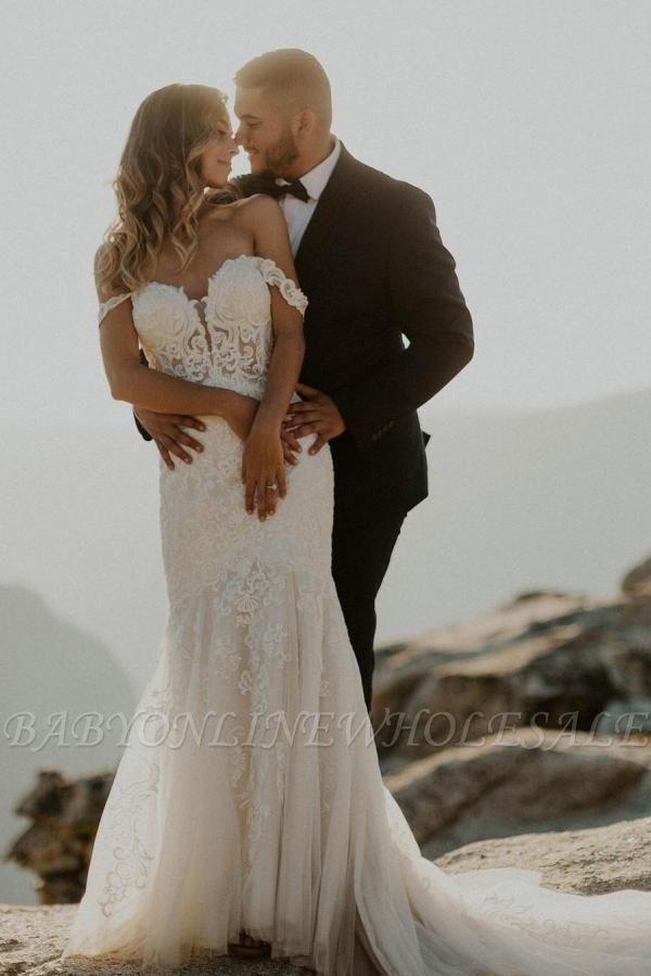 Elegant Off Shoulder White Mermaid Wedding Dress Floral Lace Tulle Bbridal Dress