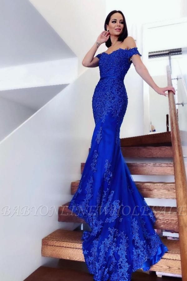 Charming Off-the-Shoulder Mermaid Evening Gown Tulle Lace Appliques Prom Dress