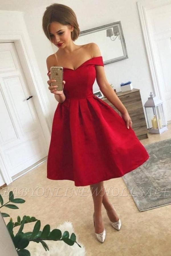 Атласное красное коктейльное платье с открытыми плечами Короткое платье для встречи выпускников