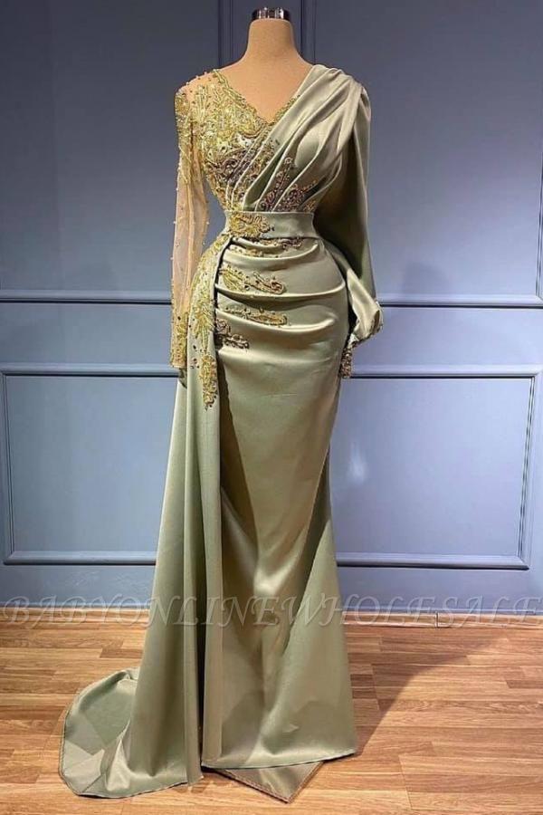 Вечернее платье русалки с длинными рукавами, 3D-цветочные аппликации, атласный V-образный вырез с боковой накидкой