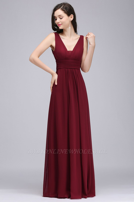 ALEXA | Gaine col en v en mousseline bordeaux longues robes de soirée