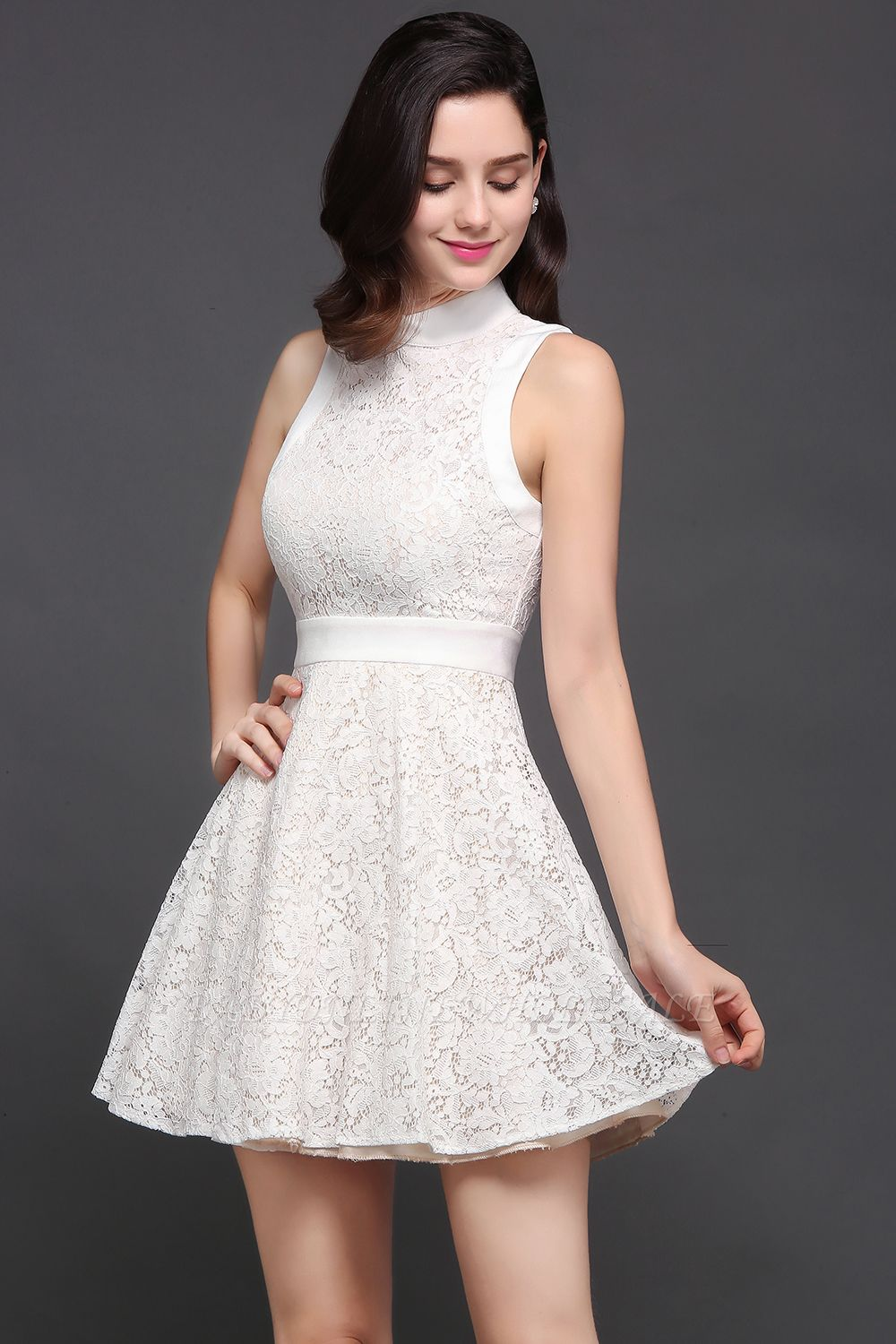CHLOE | Princess High neck Knee-length White Cute Homecoming Dress