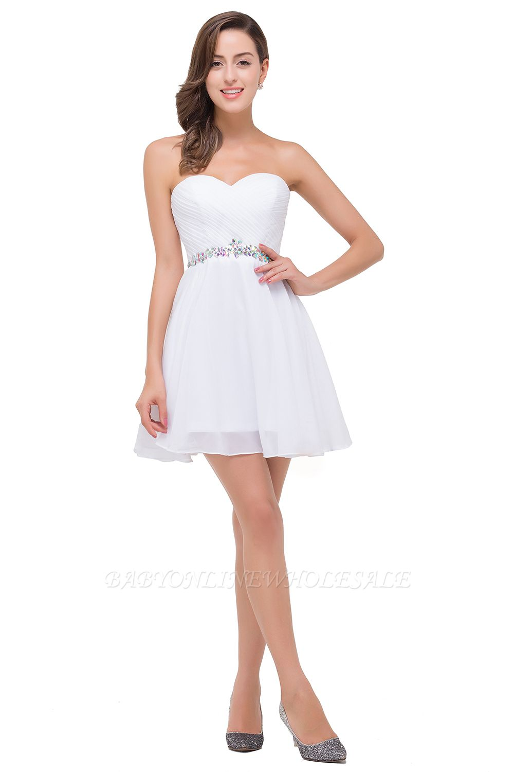 EMILEE | A-line Sweetheart Short Prom Dresses with Beadings