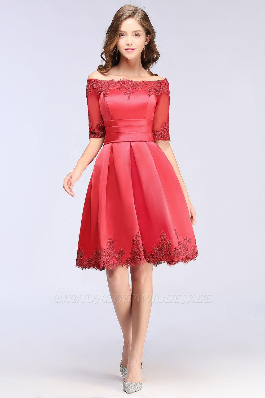 ELSIE | A-line Off-shoulder Half Sleeves Short Lace Appliques Prom Dresses