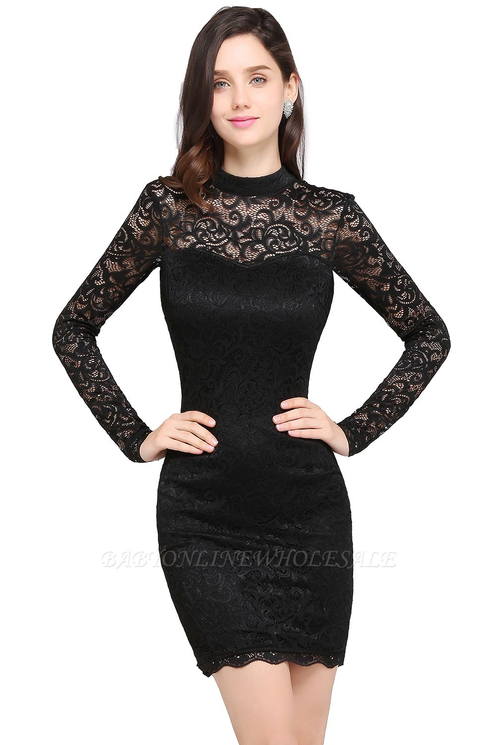 ARYANNA | Sheath High Neck Short Black Lace Cocktail Dresses