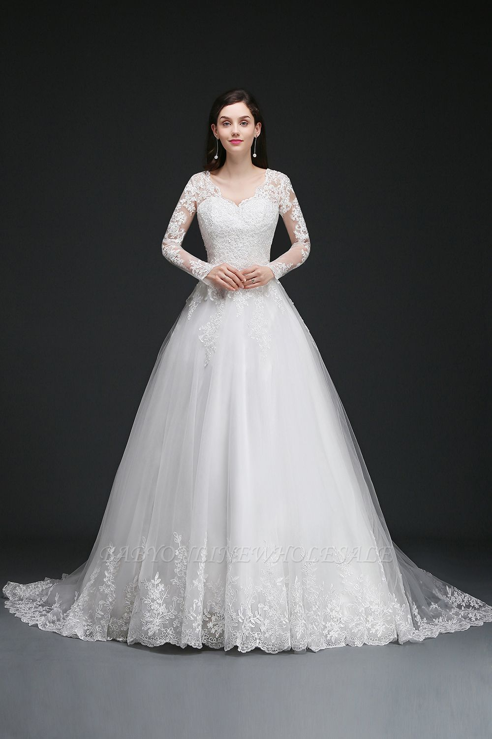 AMAYA | Ball Gown V-Neck Tulle Newest Wedding Dresses with Lace