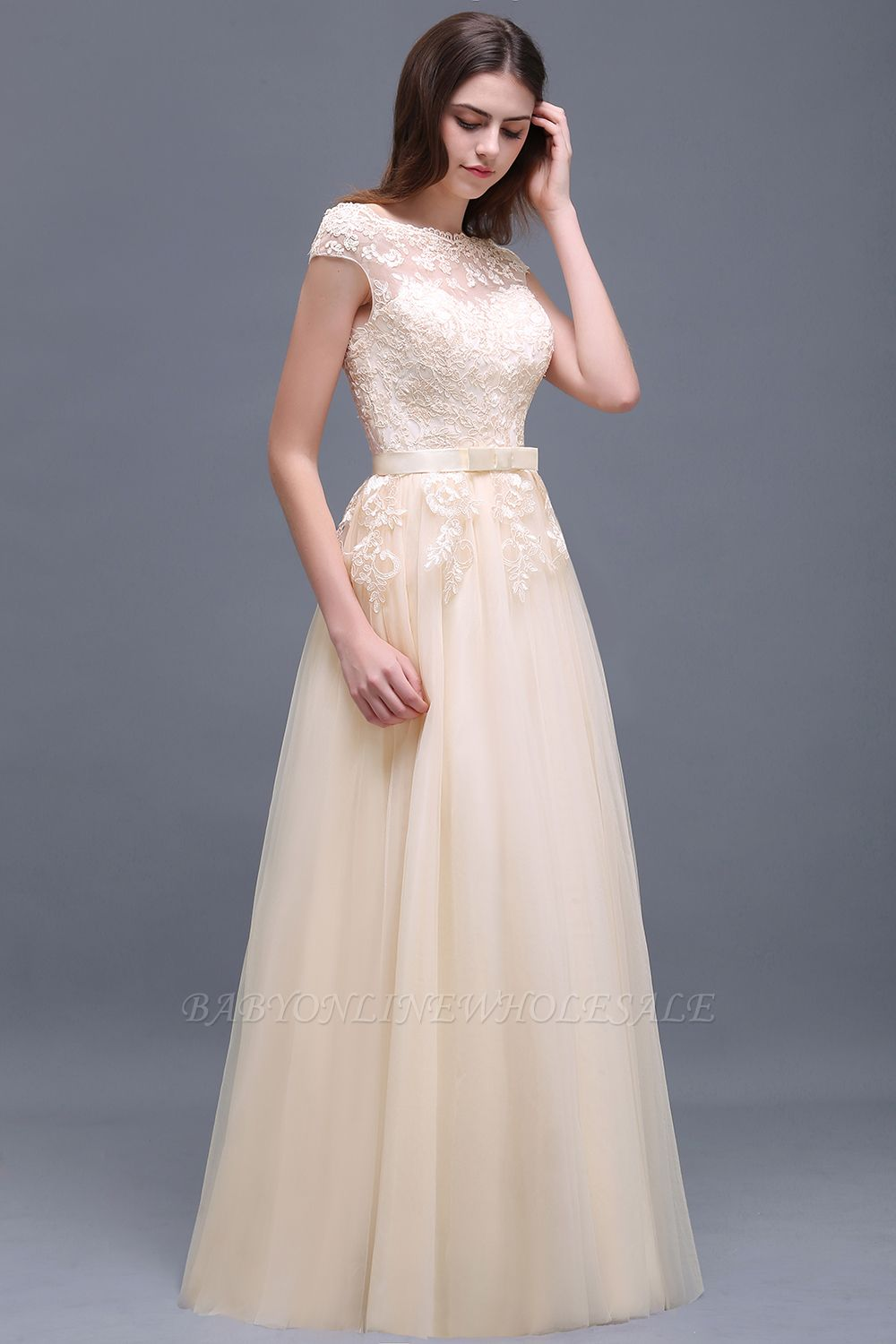 AUBREE | A-line Floor-Length Tulle Prom Dress With Lace Appliques