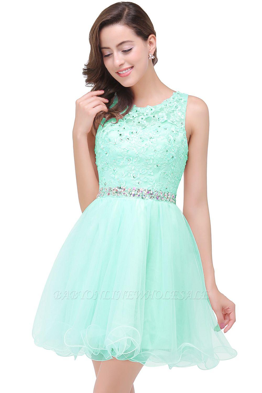 ABBY | A-ligne longueur au genou Tulle robe de bal avec Appliques & Crystal
