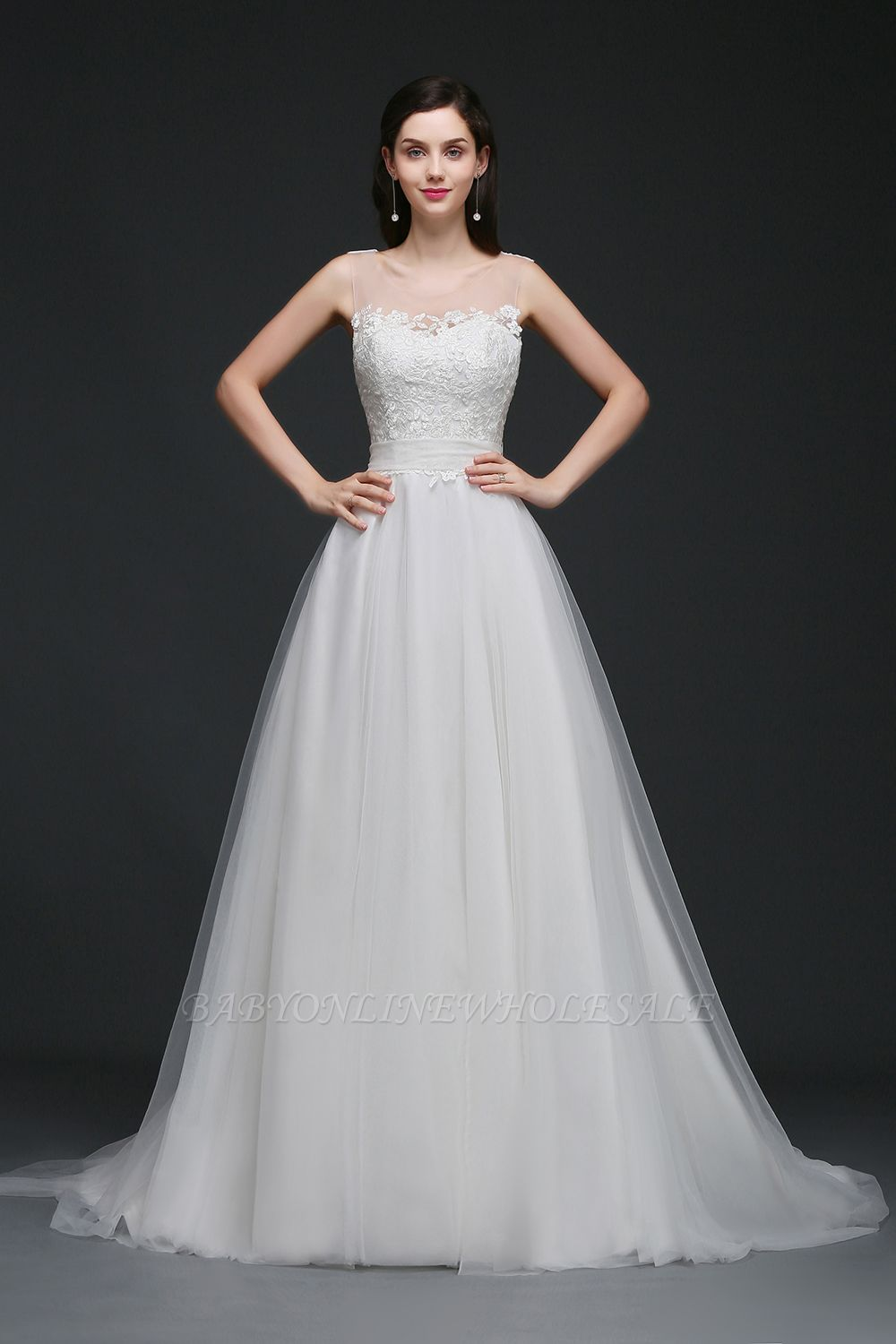 BAILEE | A-line Scoop Tulle Elegant Wedding Dress With Lace | www ...