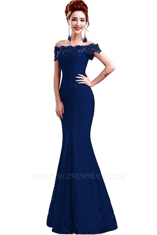 Schlichte Spitze Abendkleider Meerjungfrau | Schulterfrei Abendmode Perlen Bodenlang