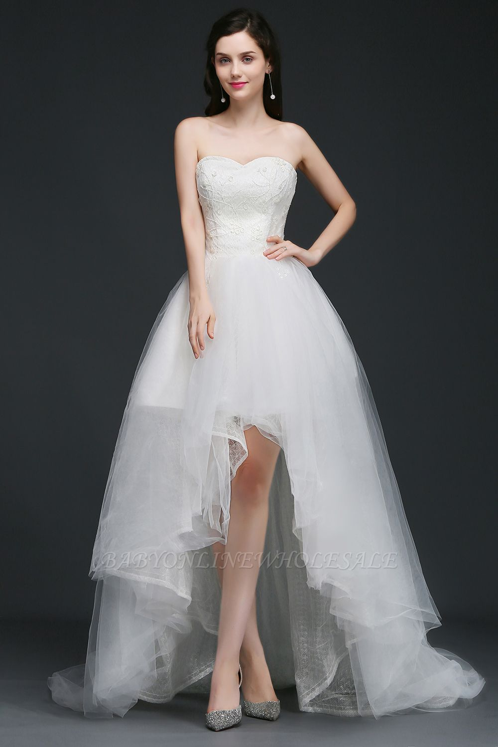 ANNE | A-line Hi-Lo Tulle Wedding Dress With Lace