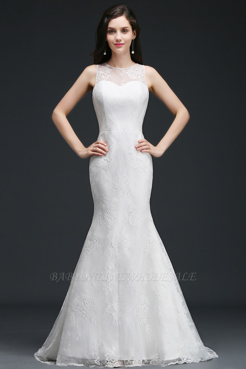 AMELIA   Mermaid Sweep Train Lace New Arrival Wedding Dresses with Buttons